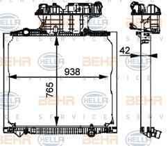 Hella 8MK376721711 - Radiador principal agua MAN TGA