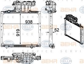 Hella 8MK376756021 - RADIADOR SCANIA R340-620 REFRI V.I