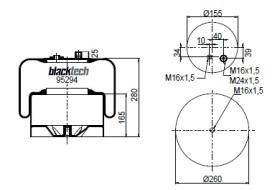 Black Tech RL95294C24 - Fuelle Suspension MERCEDES ACTROS MP2
